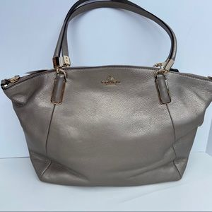 Coach Metallic Pebble Leather Kelsey Satchel Bag
